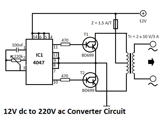 12v dc to 220v ac converter circuit diagram