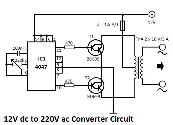 12V DC to 220V AC Converter Circuit Electrical Info PICS