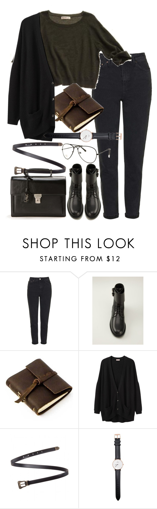 """""""Untitled #8633"""" by nikka-phillips ❤ liked on Polyvore featuring Topshop, Yves Saint Laurent, Rustico, Organic by John Patrick, Daniel Wellington, women's clothing, women, female, woman and misses"""