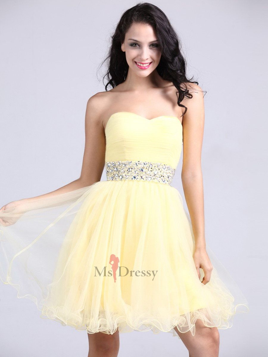 38ff67d967 A-line Sweetheart Tulle Short Mini Yellow Beading Homecoming Dress at  Msdressy