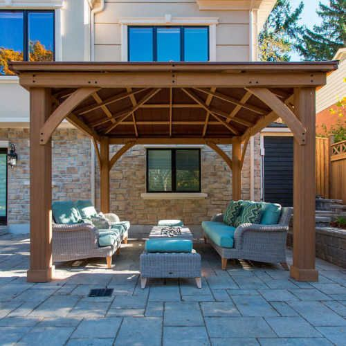 Details About 12 X 12 Wood Gazebo Heavy Duty Outdoor Aluminum Roof For Patio  Sets Hot Tubs Spa