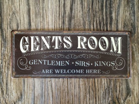 Vintage Style Tin Metal Bathroom Sign / Gift For Him Man Cave