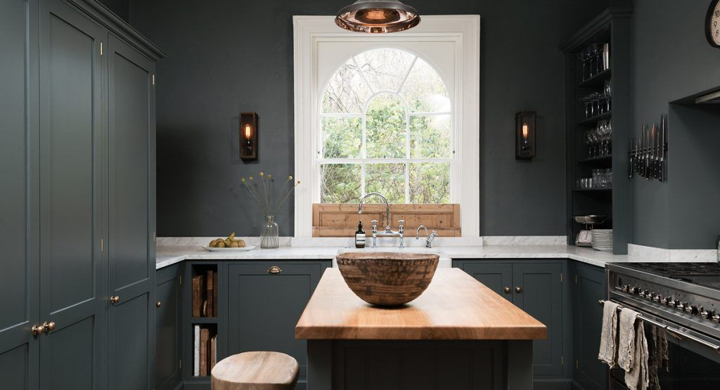 Air Devol Keukens : Devol kitchen view of sink wall and island with natural wood