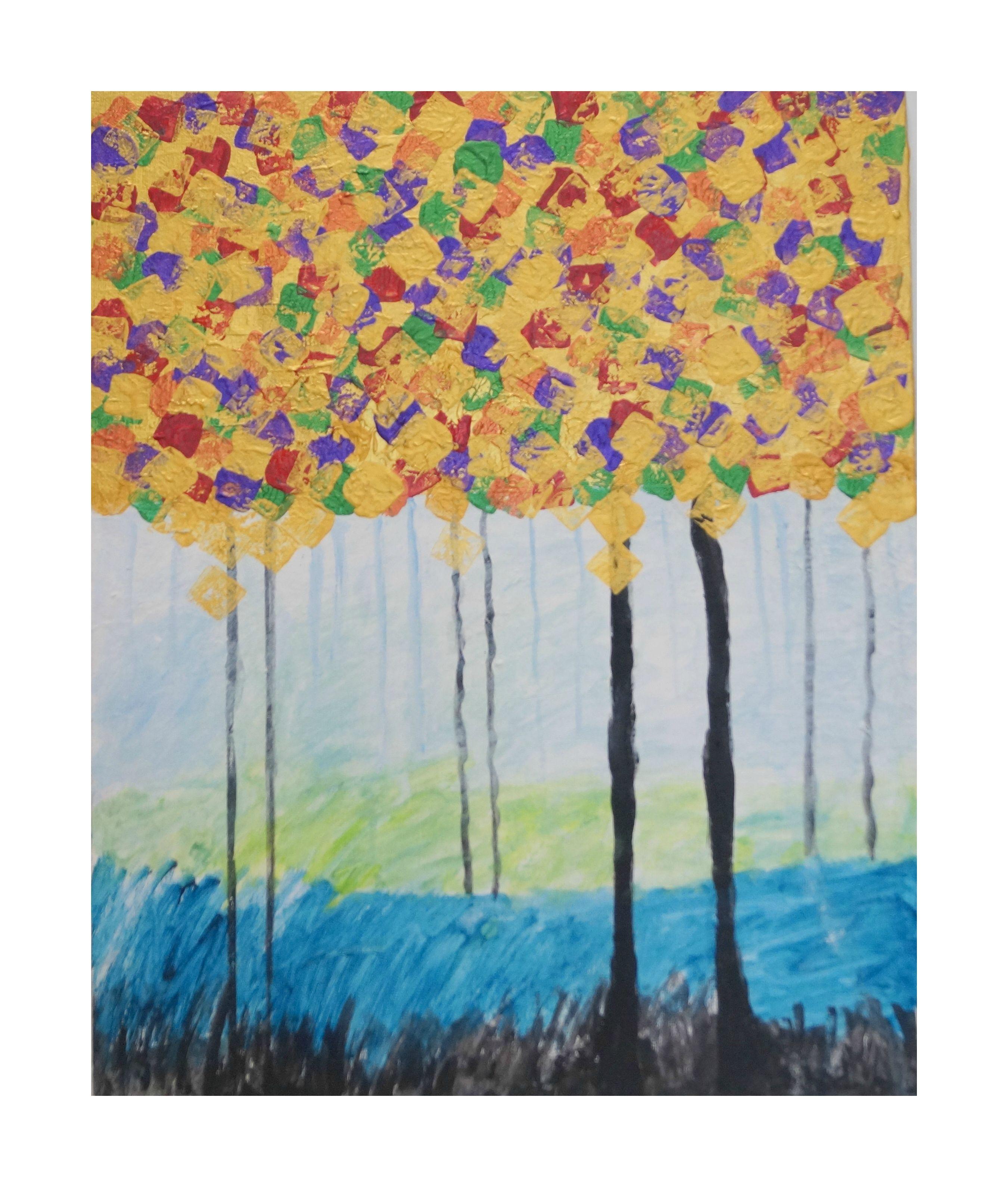 Diamonds in the sky tree landscape artwork original painting