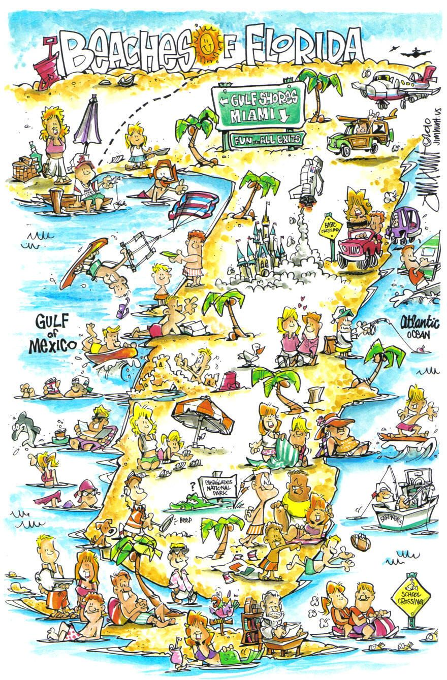 Jim Hunts map of the Beaches of Florida Tallahassee Florida
