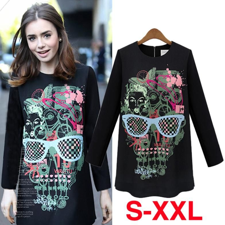 fbc9560a Find More T-Shirts Information about Free Shipping 2014 Fashion Autumn and  Winter Women Skull Print Tee Shirt Loose Style Basic Printed Tee Shirts ...