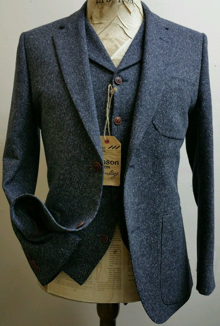 Mens 3 Piece Donegal Tweed Suit By Gibson London Nwt Rrp 163