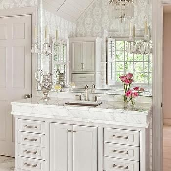Light Gray Bath Vanity With Thick Marble Countertop And Hammered