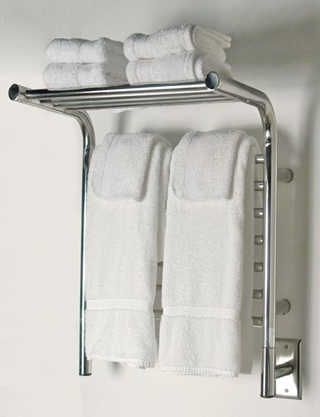 Image Of Wall Mounted Towel Warmer With Shelf Shown In Polished Stainless