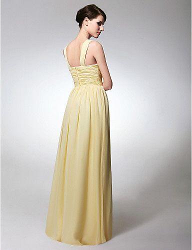 Bridesmaid Dress Floor Length Chiffon Sheath Column Scoop Dress – GBP £ 65.69