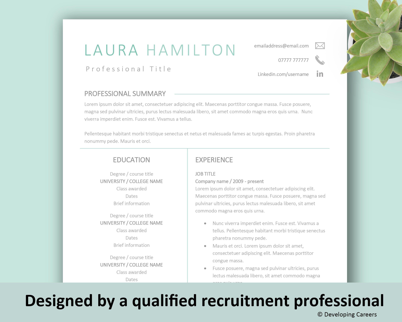 Modern Resume Template Professional Cv Template Cv Design