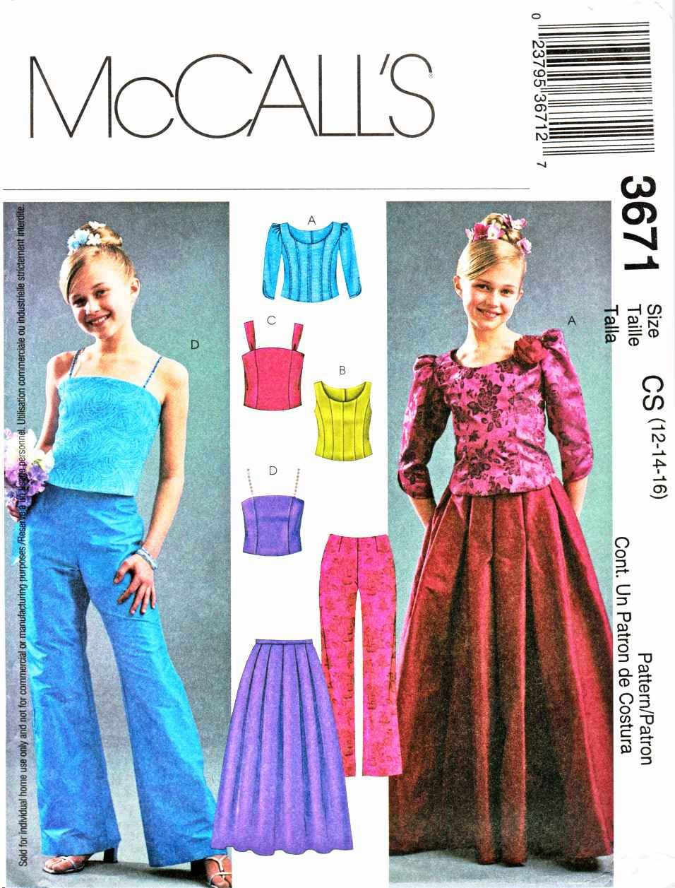e02cd70b056a McCalls Sewing Pattern 3671 Girls Size 12-16 Formal Two Piece Dress Tops  Pants Skirt ...