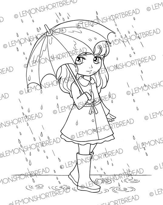 Digital Stamp Rainy Days Girl With Umbrella By Lemonshortbread