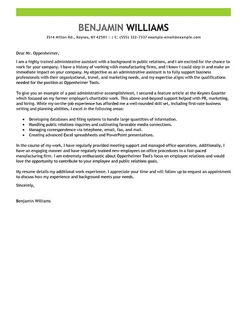 Cover Letter Template Executive Assistant | resume help ...