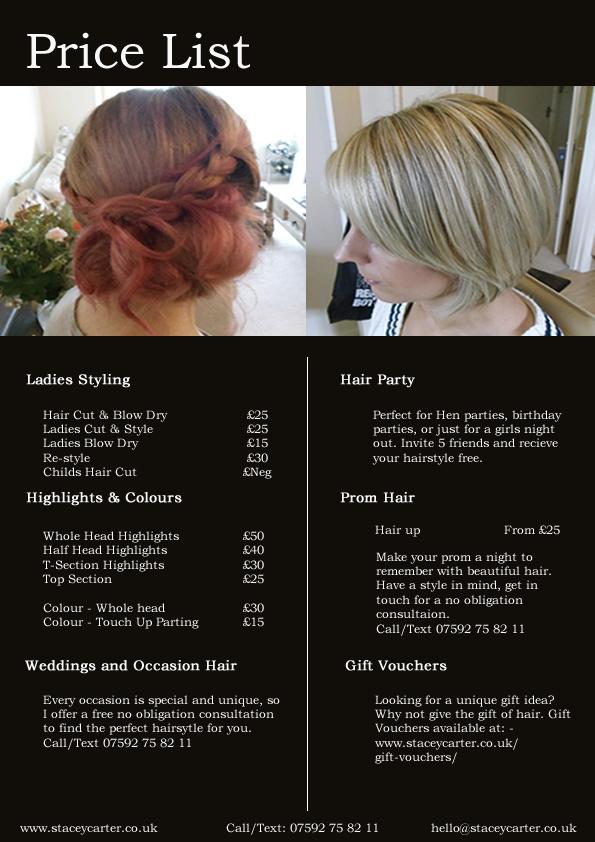 Mobile Hairdresser Bournemouth Poole Price List Wedding Hair Dorset