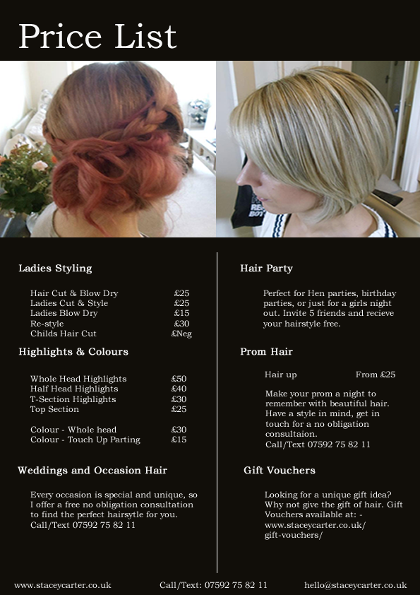 Mobile Hairdresser Bournemouth Poole Price list Wedding