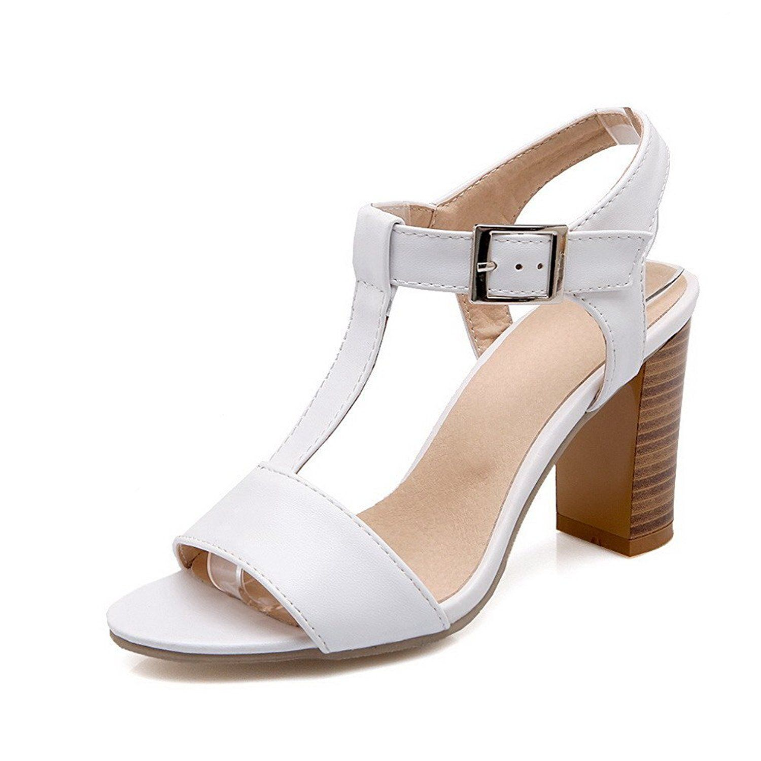 VogueZone009 Women's Open Toe Buckle Pu Solid High Heels Heeled-Sandals --  Click image