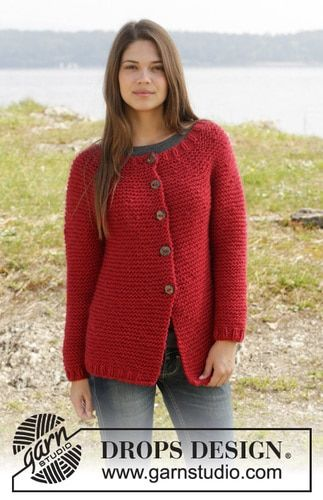 Drops Pattern 158-27, Knitted jacket in garter st with round yoke worked top down in Andes