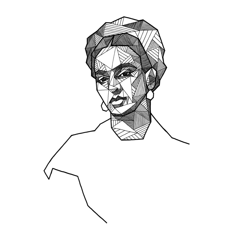 Geometric portrait of Frida Kahlo by Allison Kunath / ink