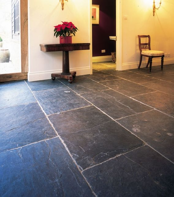 Solid Blue-black Slate Floor Tiles With A Riven Finish To