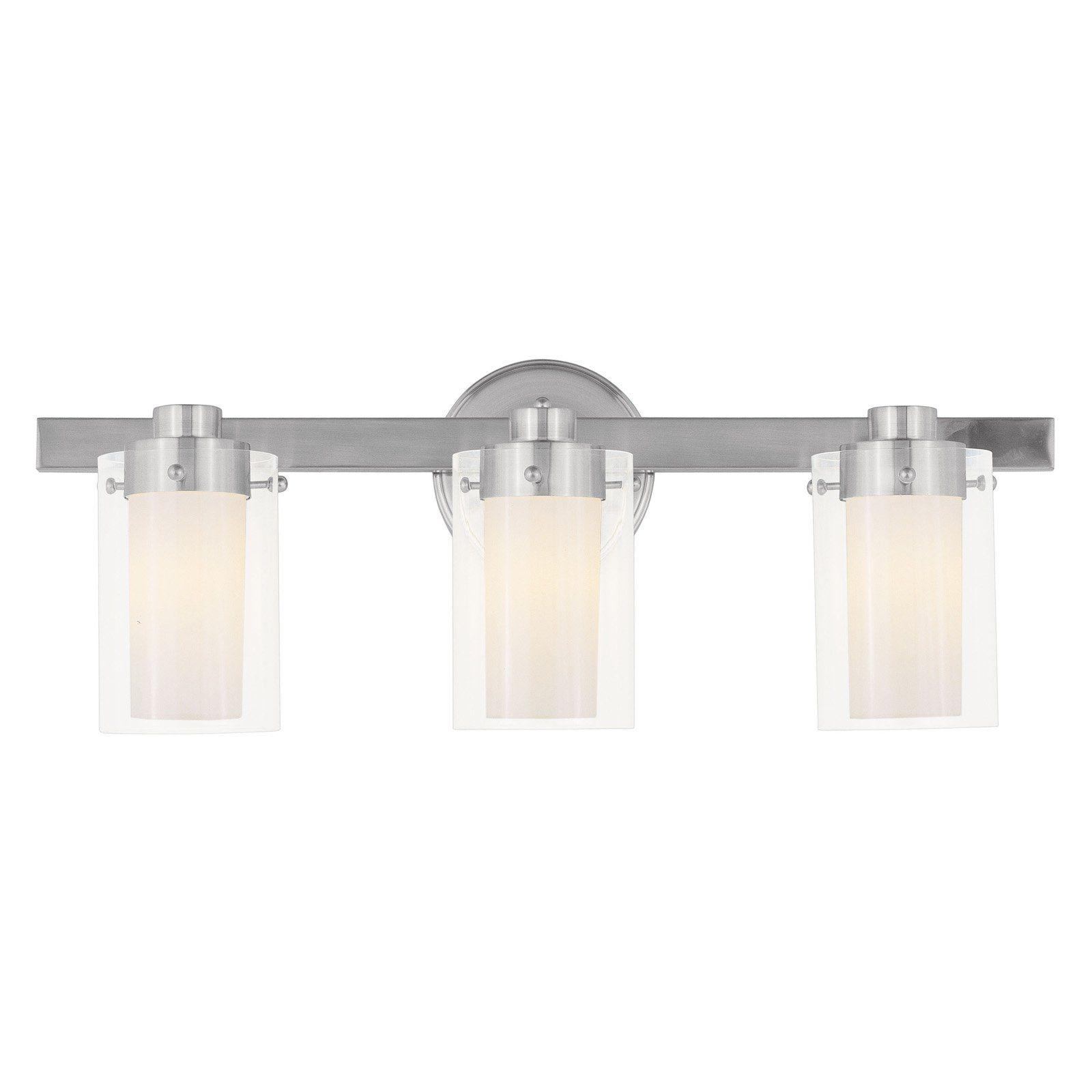 Photo of Livex Manhattan 1543-91 3-light bathroom wall light – 22.5 W in. – Brushed nickel