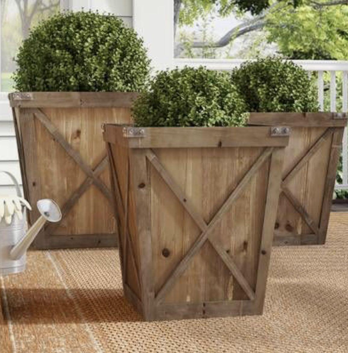 Key Design Elements Of A Farmhouse Exterior Wood Planters Wood Planter Box Planter Boxes