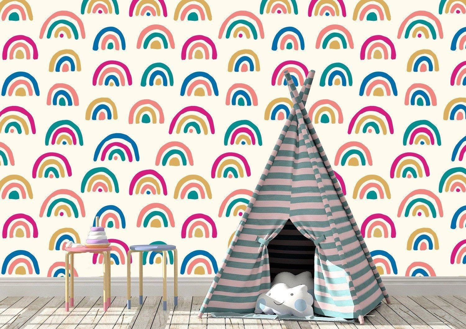 Removable Peel And Stick Wallpaper Rainbow Wallpaper Etsy Wallpaper Peel And Stick Wallpaper Rainbow Wallpaper