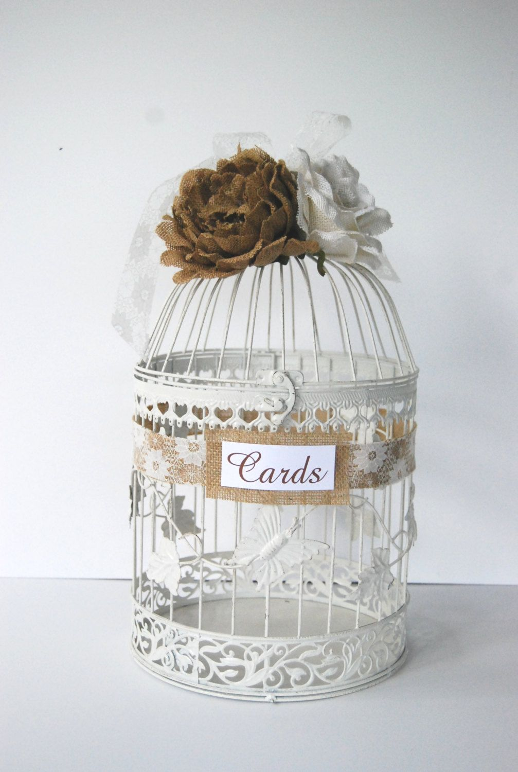 Large Wedding Bird Cage Card Holder Burlap by MackensleyDesigns ...