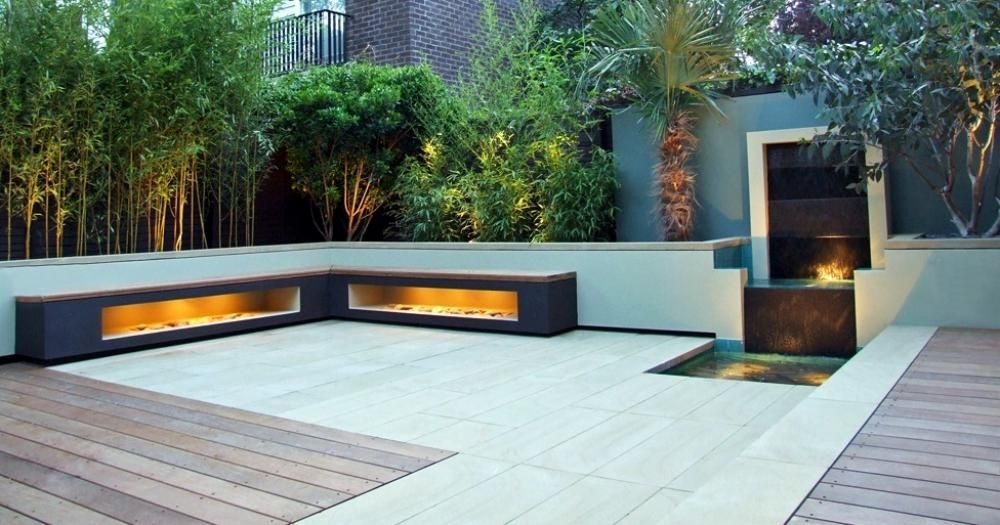 Contemporary Garden Benches Design: Corner Side Modern Bench With Internal  Light Beside The Outdoor Garden And Clam Waterfall In The Patio