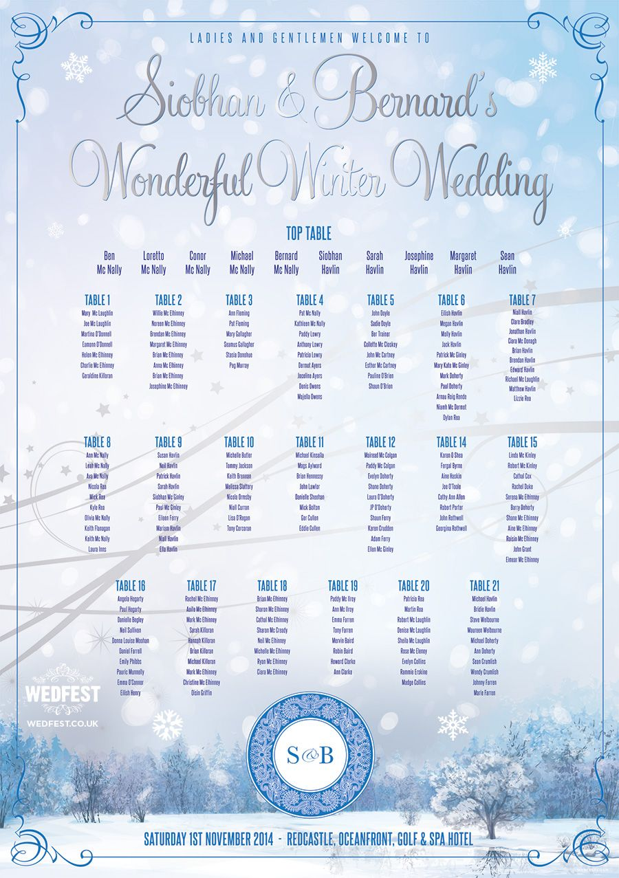 winter wedding seating chart http www wedfest co table plans for