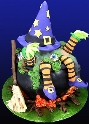 Witchin\u0027 Brew Halloween Cake Where there\u0027s smoke, there\u0027s \ - halloween cake decorating pictures