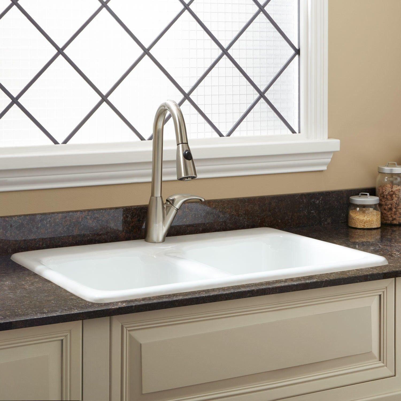 33 Blyth Double Bowl Cast Iron Drop In Kitchen Sink Kitchen