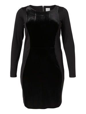 LONG SLEEVED VELOUR DETAILED DRESS, Black