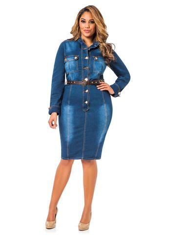 2f92f01e51f Belted Denim Dress Plus Size Designers