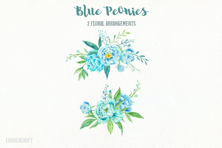 Blue Peony Clip Art Watercolour ~ Illustrations ~ Creative Market #bluepeonies