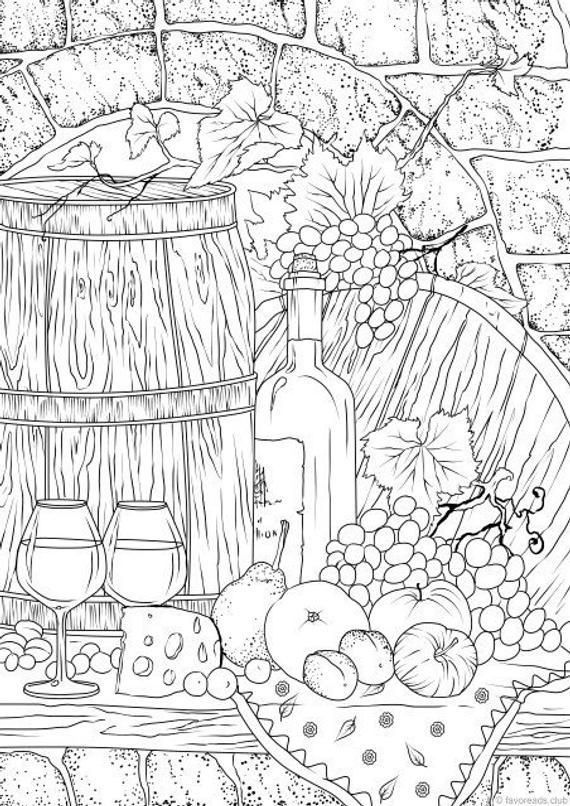 A Taste Of Wine Printable Adult Coloring Page From