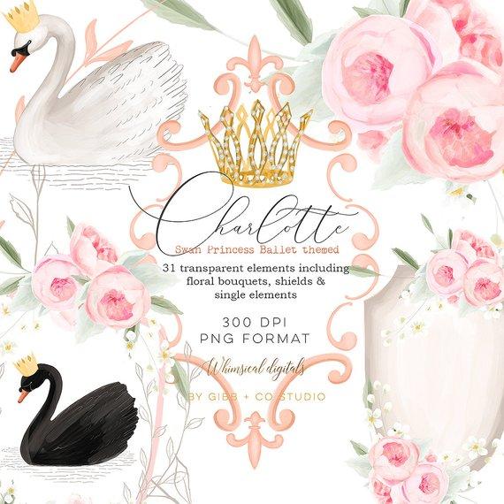 Flower crown princess. Ballet theme clipart planner