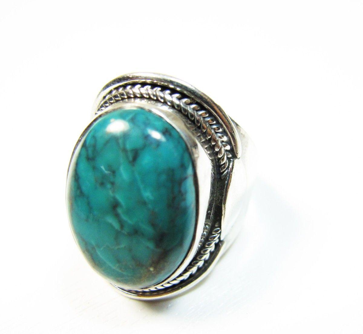 ce bijou indien est une bague large en argent avec une pierre naturelle ovale en turquoise c. Black Bedroom Furniture Sets. Home Design Ideas