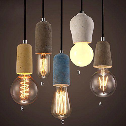 KunMai Rustic Concrete Exposed Edison Bulb Mini Pendant C... https ...