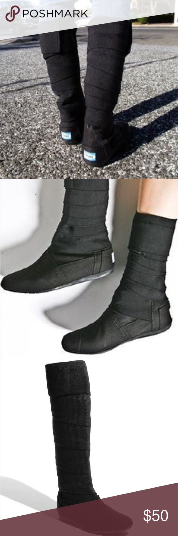 f309efe2b30 Toms wrap boots (vegan) Black tall or short wrap boots. Vegan Toms. Size 11  womens. Worn a few times. Toms Shoes Combat   Moto Boots