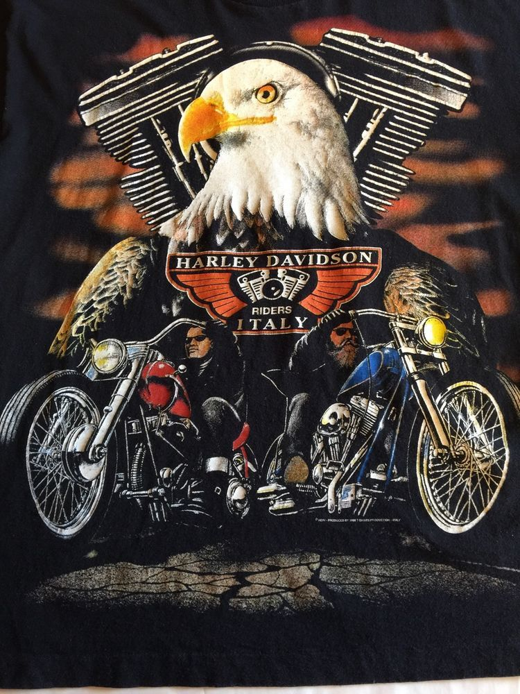 Rare 1999 Screen Stars Harley Davidson Riders Italy T Shirt Size