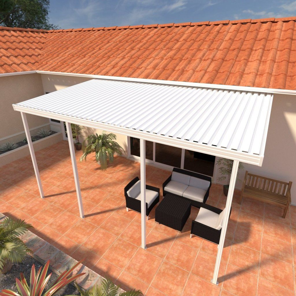 10 Ft Deep X 24 Ft Wide White Attached Aluminum Patio Cover 4 Posts 10lb Low Snow Area In 2020 Aluminum Patio Covers Covered Patio Aluminum Patio