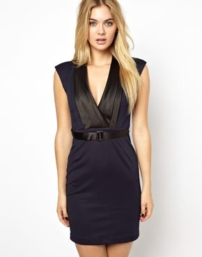 Arrogant Cat London Deep V Belted Dress in Contrast