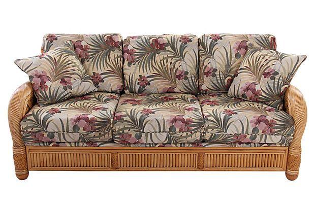 Perfect Wicker Tropical Sofa On OneKingsLane.com