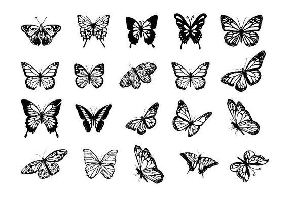 Butterflies clipart, svg file, dxf file, butterflies svg, dxf files for laser, dxf files for cnc, dxf laser, butterfly svg, laser engraving
