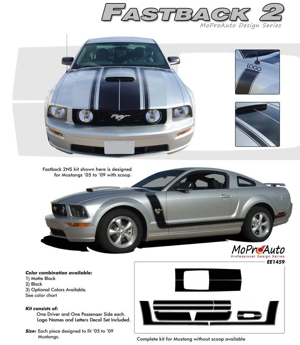 Mustang Fastback 2 Boss Style 2005 2006 2007 2008 2009 Ford Mustang Hood Door Vinyl Graphics Kit Volkswagen Routan Volkswagen Transporter Ford Mustang Accessories