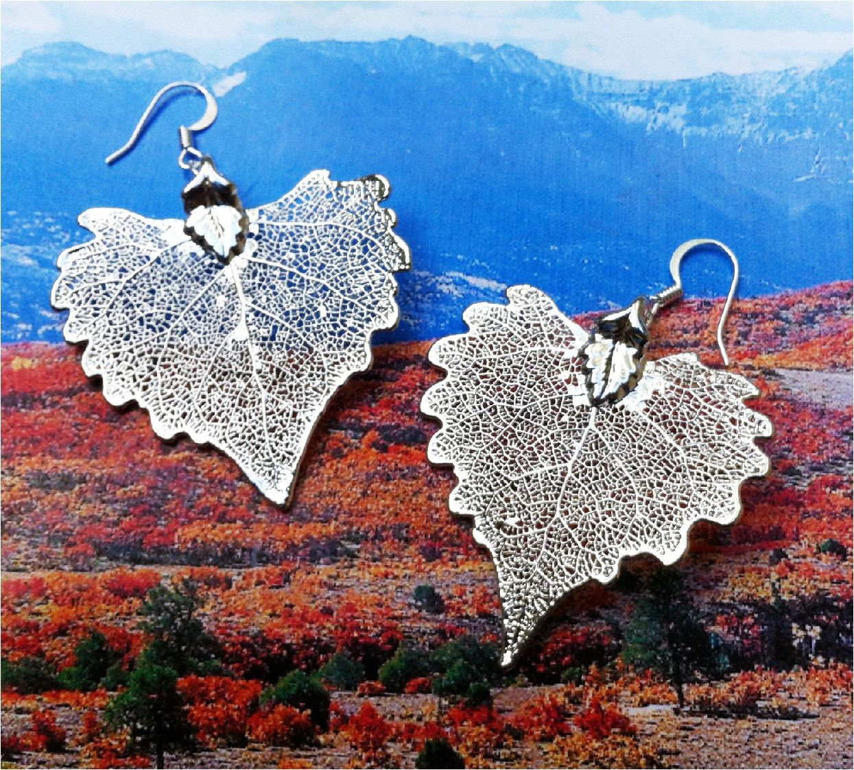 Real Leaf Jewelry, Large Silver Cottonwood Leaves, Bold and Beautiful. $17.95, via Etsy.