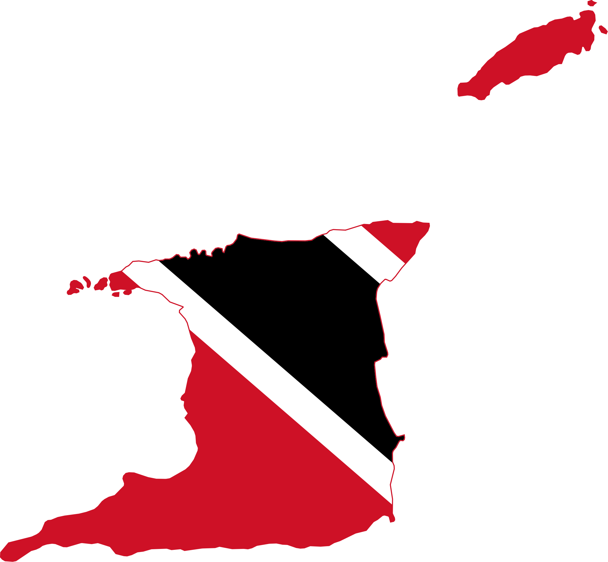 Flag map of Trinidad and Tobago | Home sweet Home T&T | Trinidad map ...