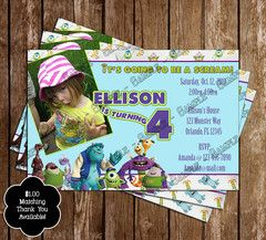 Monster Inc Photo Birthday Invitation!