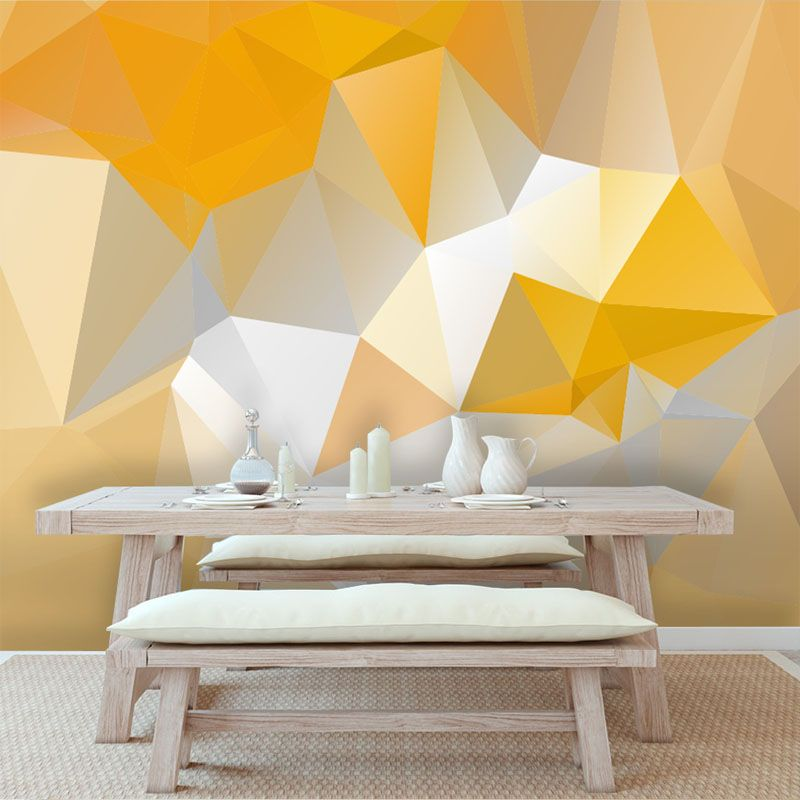 discount modern yellow geometric wallpaper mura art mural wallpaper ...